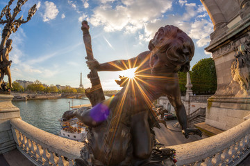 Fototapete - Alexandre III bridge in Paris against sunset with Eiffel Tower France