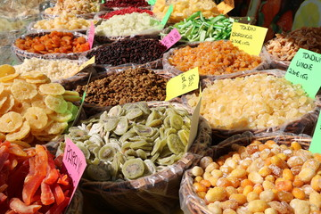 Sales of delicious dry fruits, Italy