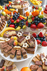 Delicious sweets and fruits