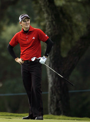 Justin Rose of England gestures during the Volvo Masters golf tournament in Sotogrande, southern Spain