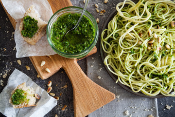 WIld garlic pesto sauce with pasta and bread