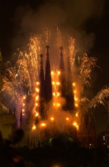Antoni Gaudi's unfinished cathedral Sagrada Familia (Sacred Family) is lit up during a firework and light show display in Barcelona