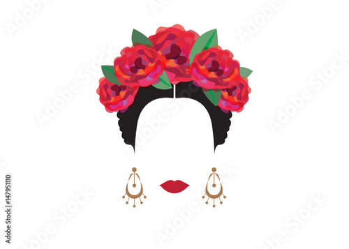 Portrait of modern mexican or spanish woman with flower crowns portrait of modern mexican or spanish woman with flower crowns vector transparent background voltagebd Gallery