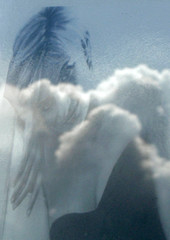 Clouds are reflected in a poster photograph of Diana, Princess of Wales, outside of Kensington Palace in west London