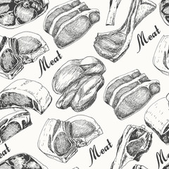 Seamless pattern with different meat products