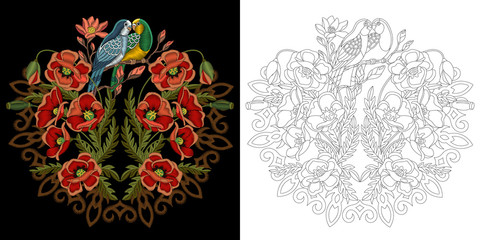 Embroidery design. Collection of floral elements for patches and stickers. Coloring book page with budgie parrots, poppy flowers and mandala.