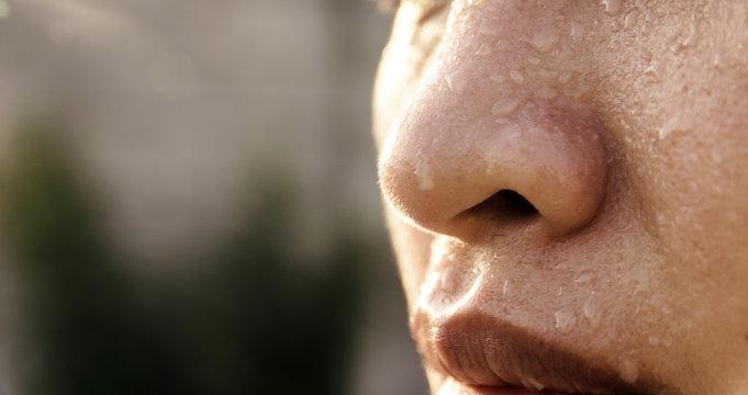 Closeup  sweating on asian face