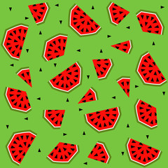 Summer seamless pattern with watermelon, vector background