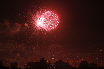 Fireworks in celebration of the New Year are seen over Beirut