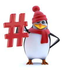 3d Cute cartoon winter penguin in wool hat holds a hash tag symbol