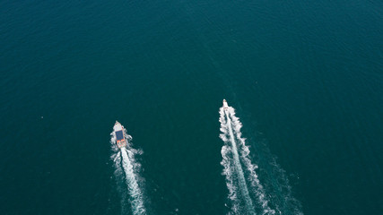 Aerial view of passenger ferry boat in open waters
