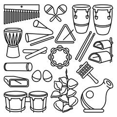 Latin Percussion Instruments Icon Set on white background