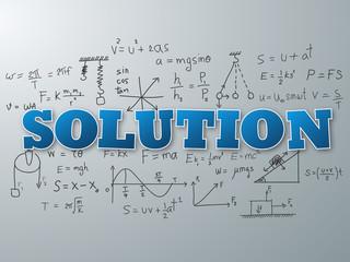 Solution word on light blue background. Vector illustration.