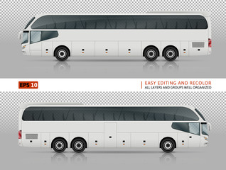 Vector bus on transparent background. All elements in groups on separate layers. All layers and groups well organized for easy editing and recolor. View from right and left side