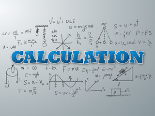 Calculation word on light blue background. Vector illustration.