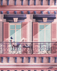 Illustration of woman sunbathing on balcony