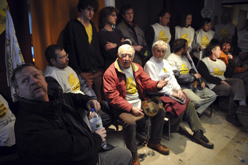 French radical farmer Bove gives a news conference in a vacant building in Paris