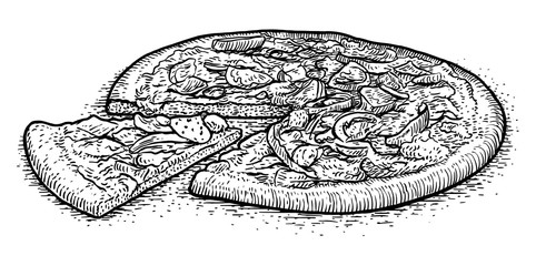 Pizza illustration, drawing, engraving, ink, line art, vector