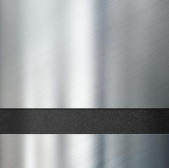 metal plates over black plastic background 3d illustration
