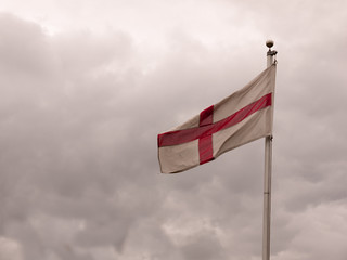 england flag swaying in the wind folded