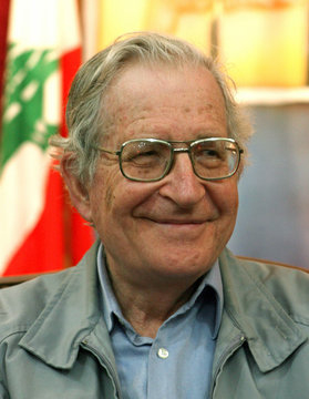 Academic and linguist Noam Chomsky speaks to reporters during his visit to a former [Israeli prison ..