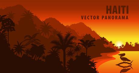 Foto auf Acrylglas Braun vector panorama of Haiti with beach and pelican