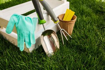 Gardening tools and equipment closeup in the backyard.