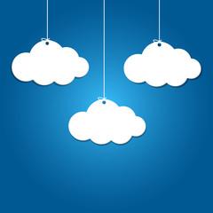 Foto op Plexiglas Hemel 3 paper clouds hanging on blue background.