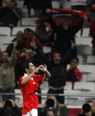 Benfica's Angel di Maria celebrates his goal against AEK Athens during their Europa League soccer match at Luz stadium in Lisbon