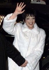 SINGER MINNELLI WAVES TO FANS AT WEDDING RECEPTION.