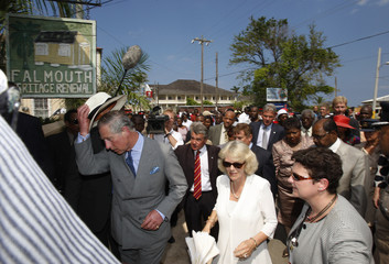 Prince Charles and Camilla tour heritage buildings in the historic Jamaican town of Falmouth