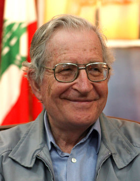 Academic and linguist Chomsky speaks to reporters during his visit to former Israeli prison in al-Kiam village in south Lebanon