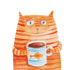 Striped cat with mug with fish. Watercolor illustration. Hand drawing