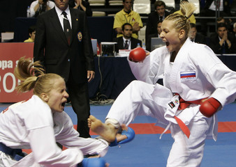 Croatia's Narandja reacts after being kicked during the European Karate Championships in Tenerife.