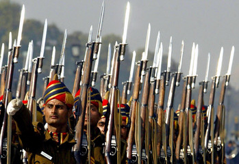 Indian police contingent march during rehearsal for Republic Day parade in New Delhi