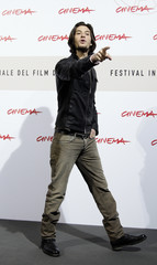 "Actor Barnes gestures during the photo call for his movie ""Easy Virtue"" at the Rome Film Festival"