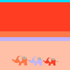 Bright children's background With three cute elephants