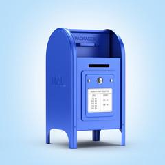 Dark blue mail box on blue gradient background 3d