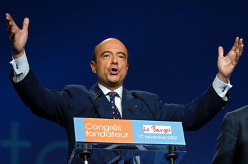 Former French Prime Minister Alain Juppe delivers a speech at the founding congress of the Union for..
