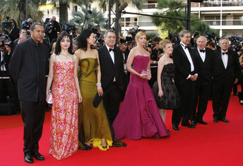 """Jury president Stephen Frears arrives with fellow jury members for the evening gala of film """"My Blueberry Nights"""" at the 60th Cannes Film Festival"""