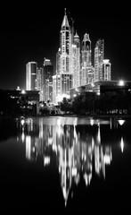 Reflections of Dubai Marina towers, Dubai, United Arab Emirates