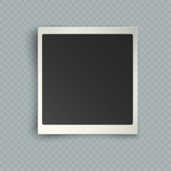 Retro realistic vertical blank instant photo frame with shadow effects white plastic border isolated on transparent background. Template photo design, vector illustration