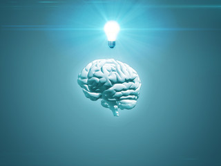 Blue brain concept with lightbulb - 3D render with copy space