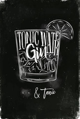 Gin tonic cocktail chalk