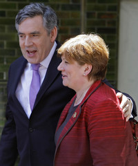 Britain's Prime Minister Gordon Brown talks with Islington South & Finsbury MP Emily Thornberry during a visit to her constituency in London