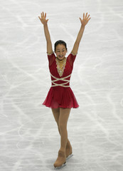 Japan's Mao Asada reacts after the women's free skating event at the World Figure Skating Championships in Tokyo