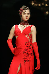 Model wears creation from Lebanese designer Nikolas Jebran spring summer 2006 collection in Beirut
