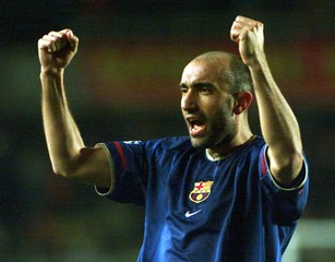 BARCELONA'S ABELARDO FERNANDEZ CELEBRATES THEIR WIN OVER GALATASARAY INTHEIR DECISIVE CHAMPIONS ...