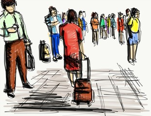 people walking cartoon sketch
