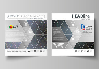 Business templates for square design brochure, magazine, flyer, booklet. Leaflet cover, vector layout. Colorful dark background with abstract lines. Bright color chaotic, random, messy curves.